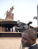 Former Nigerian president Olosegun Obasanjo delivers a speech on the podium on April 3 2010 in Dakar during the inauguration ceremony to unveil a...