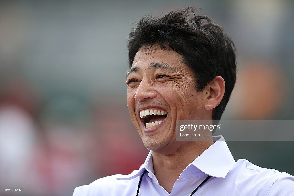 Former Nippon Professional Baseball Member <a gi-track='captionPersonalityLinkClicked' href=/galleries/search?phrase=So+Taguchi&family=editorial&specificpeople=183399 ng-click='$event.stopPropagation()'>So Taguchi</a> watches the pregame warms ups prior to the start of the game between the St. Louis Cardinals and the Boston Red Sox at JetBlue Park on February 26, 2013 in Fort Myers, Florida.