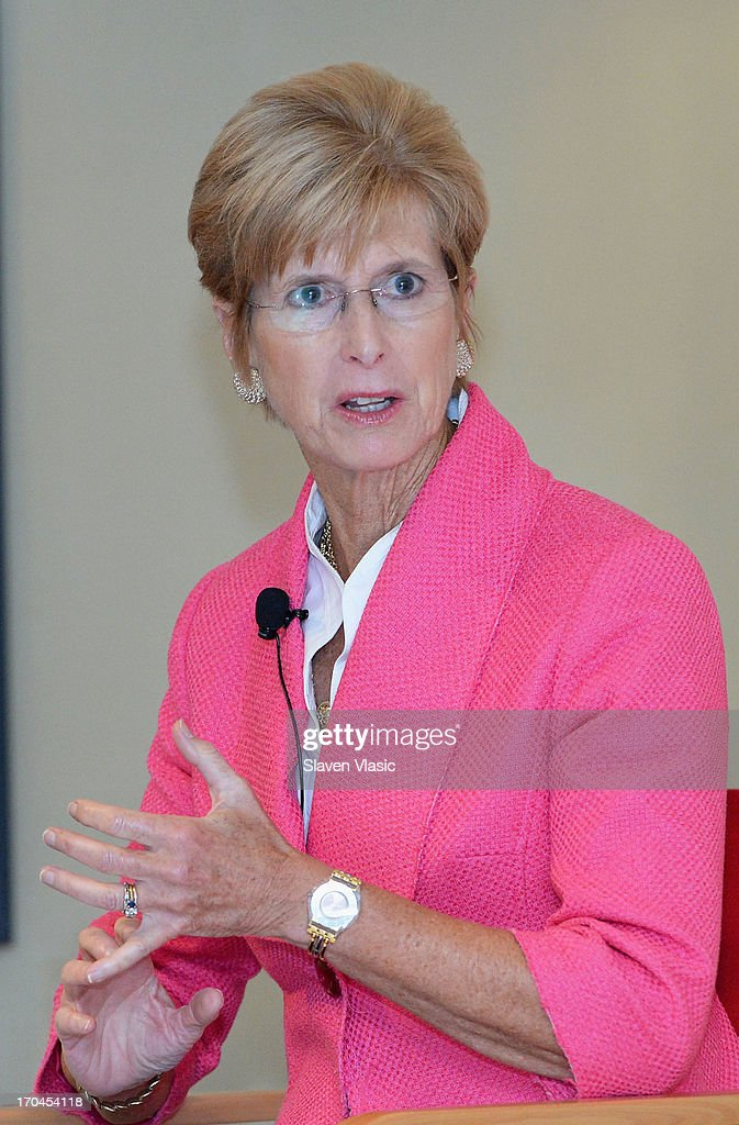 Former N.J. Governer <a gi-track='captionPersonalityLinkClicked' href=/galleries/search?phrase=Christine+Todd+Whitman&family=editorial&specificpeople=209018 ng-click='$event.stopPropagation()'>Christine Todd Whitman</a> attends 'Make One Simple Change' panel and breakfast at Time-Life Building on June 13, 2013 in New York City.