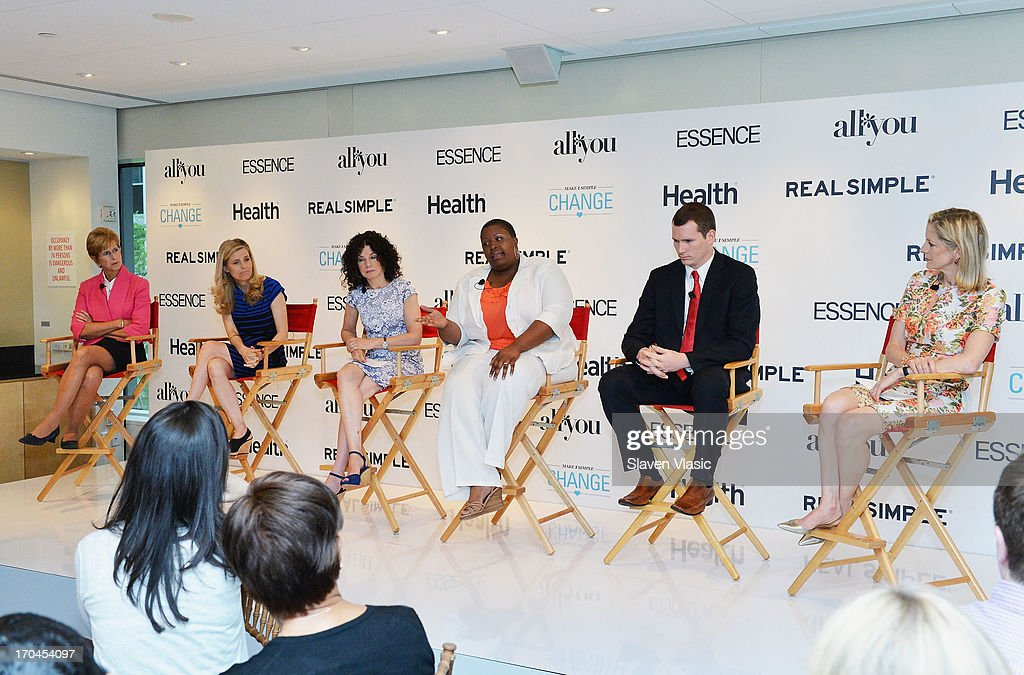 Former N.J. Governer Christine Todd Whitman; journalist Kelly Wallace; author Dr. Gail Saltz; Cleopatra Cowley-Pendleton, mother of gun violence victim; Colin Goddard, Virginia Tech shooting survivor and Kristin Van Ogtrop, editor of 'Real Simple' magazine attend 'Make One Simple Change' panel and breakfast at Time-Life Building on June 13, 2013 in New York City.
