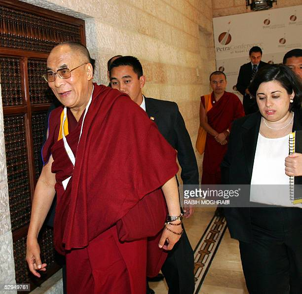 Former Nobel peace prize winner the Dalai Lama arrives with his delegation to attend the final session of the Nobel laureates conference in the...