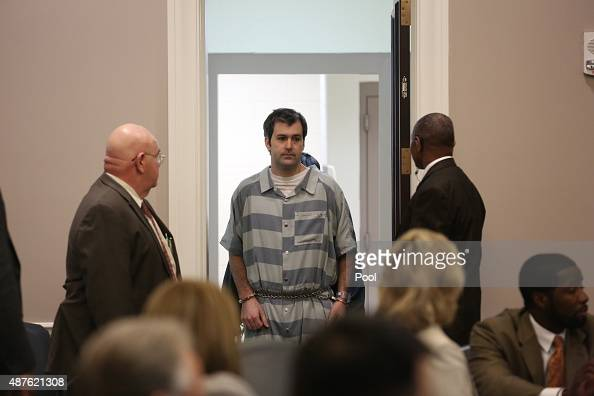 Former North Charleston officer Michael Slager is lead into court for a bond hearing at the Charleston County Court House September 10 2015 in...