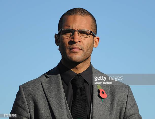 Former Northampton Town player Clarke Carlisle before the FA Cup First Round match between Bishop's Storford and Northampton Town ProKit UK stadium...