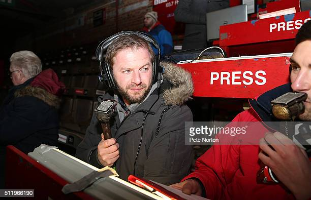 Former Northampton Town player Martin Smith takes up his job as a Radio pundit during the Sky Bet League Two match between York City and Northampton...