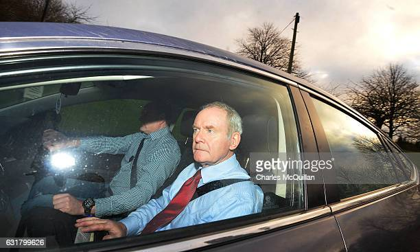 Former Northern Ireland Deputy First Minister Martin McGuinness arrives at Stormont on January 16 2017 in Belfast Northern Ireland Northern Ireland...