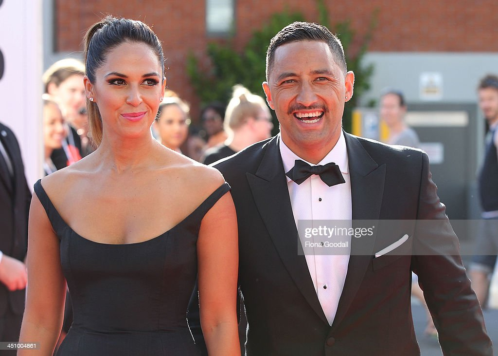 Former NRL star now Auckland Blues Super 15 player <a gi-track='captionPersonalityLinkClicked' href=/galleries/search?phrase=Benji+Marshall&family=editorial&specificpeople=215506 ng-click='$event.stopPropagation()'>Benji Marshall</a> and his wife Zoe arrives at the New Zealand Music Awards at Vector Arena on November 21, 2013 in Auckland, New Zealand.