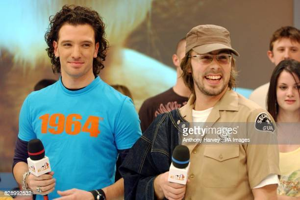 Former N'Sync's JC Chasez and Felix Buxtom from Basement Jaxx during their guest appearance on MTV's TRL UK at the MTV Studios in Camden north London...