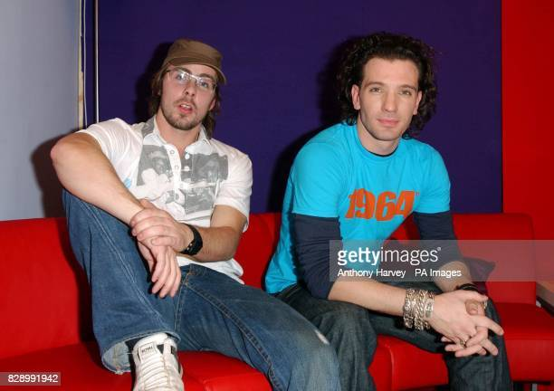 Former N'Sync's JC Chasez and Felix Buxton from Basement Jaxx during their guest appearance on MTV's TRL UK at the MTV Studios in Camden north London...