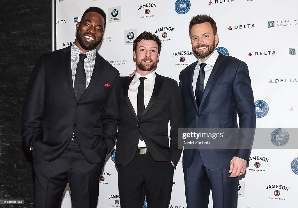 Former NY Giants player Justin Tuck boxer John Duddy and actor Joel McHale attend the American Ireland Fund St Patricks Celebration at Espace on...
