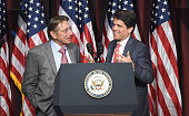 Former NY Jet and Pro Football Hall of Fame quarterback event honoree Joe Namath and President of Save the Children Action Network Mark Shriver seen...
