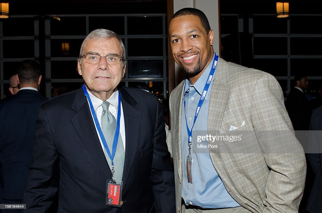 Former NY Jet Dave Herman and NY Giant <a gi-track='captionPersonalityLinkClicked' href=/galleries/search?phrase=Michael+Boley&family=editorial&specificpeople=750373 ng-click='$event.stopPropagation()'>Michael Boley</a> attend MDA's 2013 Muscle Team Kick Off Event at The Lighthouse at Chelsea Piers on December 10, 2012 in New York City.