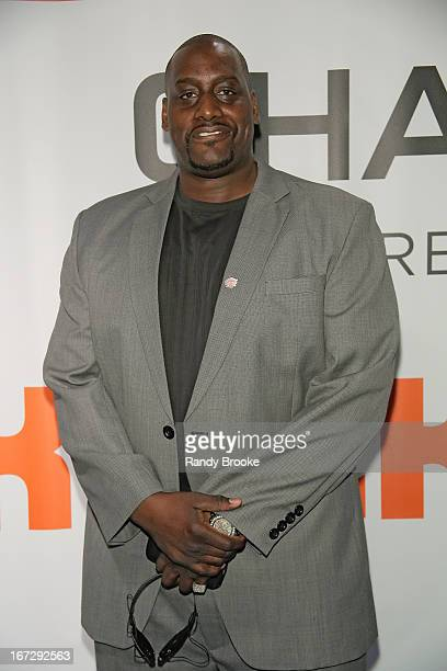 Former NY Knick forward Anthony Mason attends the Boston Celtics vs the New York Knicks 2013 Playoff game two at Madison Square Garden on April 23...