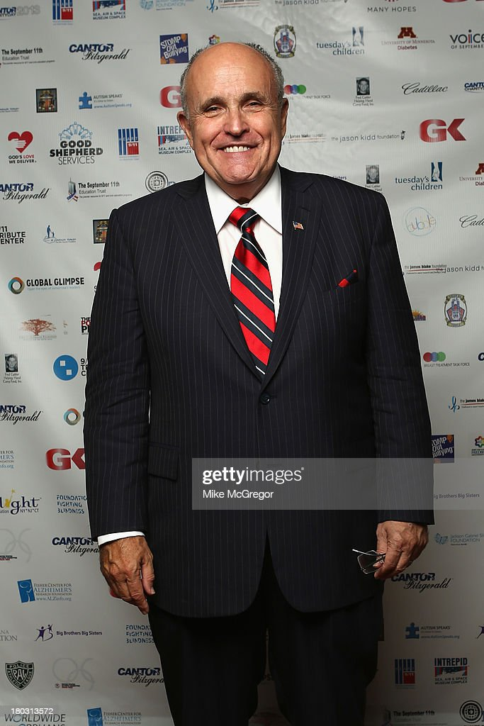 Former NY mayor Rudy Giuliani attends the Annual Charity Day Hosted By Cantor Fitzgerald And BGC at the Cantor Fitzgerald Office on September 11, 2013 in New York, United States.