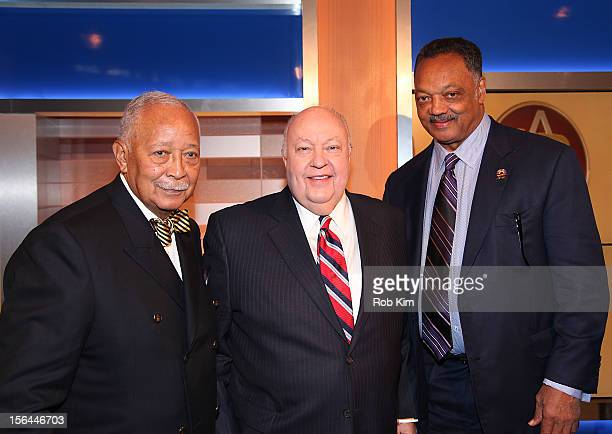 Former NYC Mayor David Dinkins Roger Ailes Chairman CEO FOX News FOX Business and Reverend Jesse Jackson attend the 2012 Ailes Apprentice Class...
