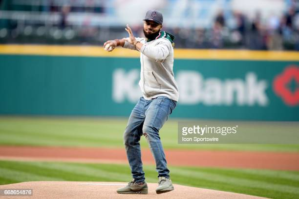 Former Ohio State Buckeye cornerback Marshon Lattimore throws out a ceremonial first pitch prior to the Major League Baseball game between the...