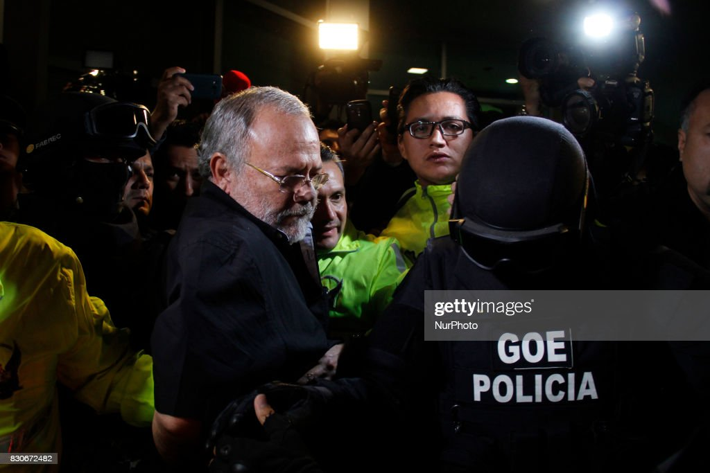 Former oil minister Carlos Pareja Yannuzzelli on his arrival in Ecuador and surrendered to Ecuadorian justice in Quito, Friday, August 11, 2017. Carlos Pareja Yannuzzelli is investigated for peculation. (Photo by Gabriela Mena/Pressouth/NurPhoto via Getty Images).