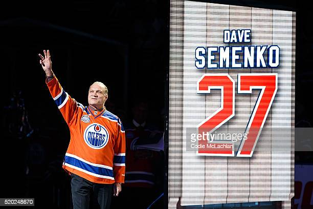 Former Oiler Dave Semenko is introduced during the closing ceremonies at Rexall Place following the game between the Edmonton Oilers and the...