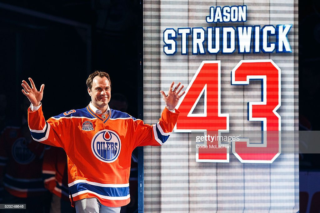 Former Oiler Jason Strudwick is introduced during the closing ceremonies at Rexall Place following the game between the Edmonton Oilers and the Vancouver Canucks on April 6, 2016 at Rexall Place in Edmonton, Alberta, Canada. The game was the final game the Oilers played at Rexall Place before moving to Rogers Place next season.
