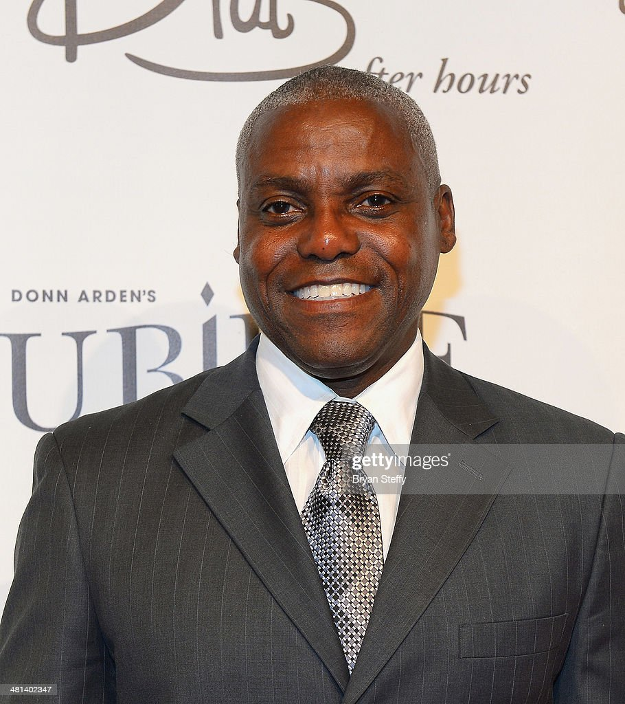 Former Olympian <a gi-track='captionPersonalityLinkClicked' href=/galleries/search?phrase=Carl+Lewis&family=editorial&specificpeople=206414 ng-click='$event.stopPropagation()'>Carl Lewis</a> arrives at the 'Jubilee!' show's grand reopening at Ballys Las Vegas on March 29, 2014 in Las Vegas, Nevada.