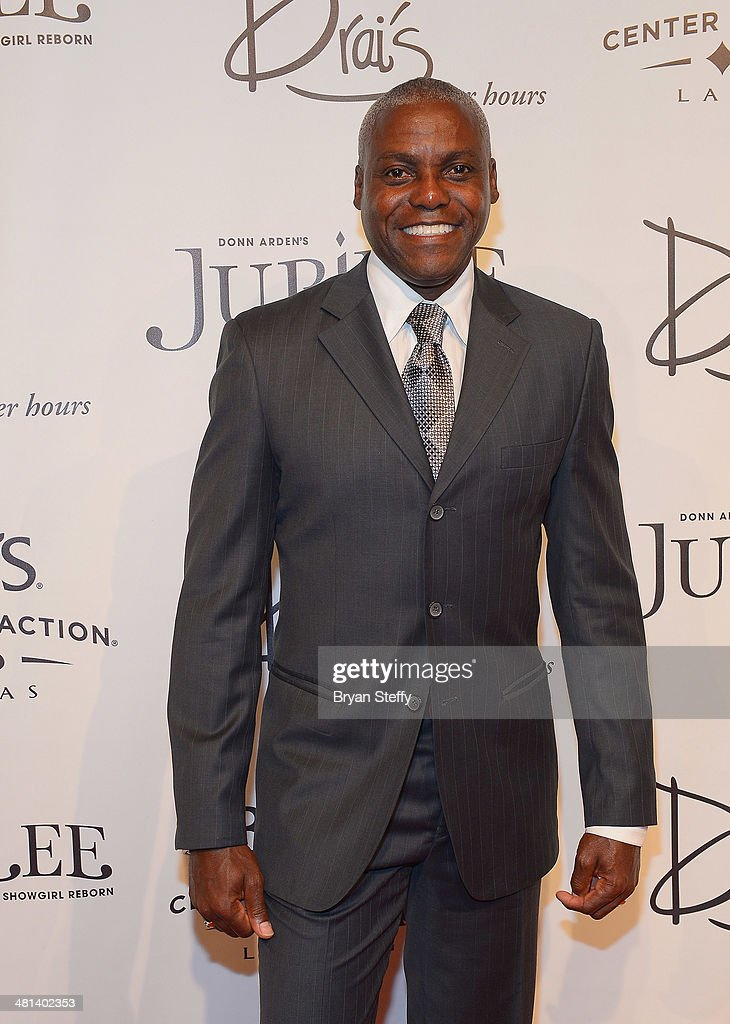 Former Olympian Carl Lewis arrives at the 'Jubilee!' show's grand reopening at Ballys Las Vegas on March 29, 2014 in Las Vegas, Nevada.