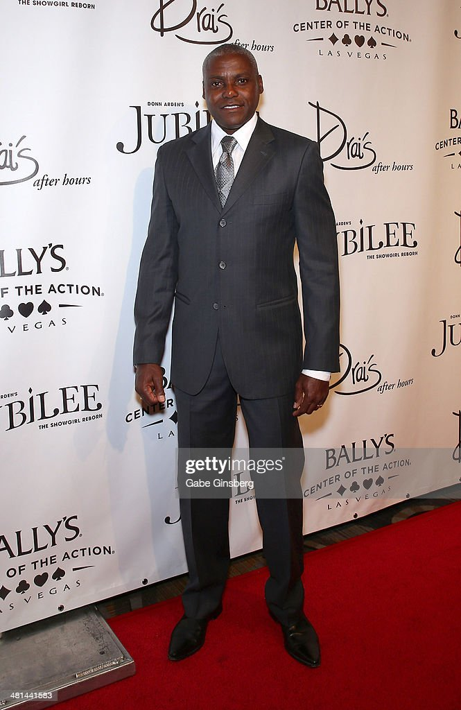 Former Olympian Carl Lewis arrives at the 'Jubilee' show's grand re-opening at Bally's Las Vegas on March 29, 2014 in Las Vegas, Nevada.