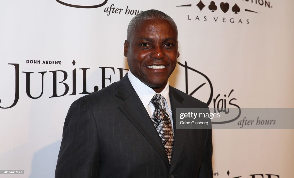 Former Olympian <a gi-track='captionPersonalityLinkClicked' href=/galleries/search?phrase=Carl+Lewis&family=editorial&specificpeople=206414 ng-click='$event.stopPropagation()'>Carl Lewis</a> arrives at the 'Jubilee' show's grand re-opening at Bally's Las Vegas on March 29, 2014 in Las Vegas, Nevada.