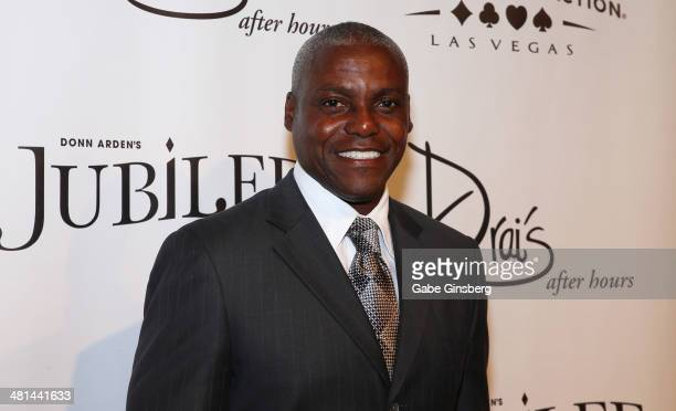 Former Olympian Carl Lewis arrives at the 'Jubilee' show's grand reopening at Bally's Las Vegas on March 29 2014 in Las Vegas Nevada