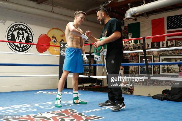 Former Olympian Michael Conlan of Ireland trains with Manny Robles during a media workout session at Wild Card West on March 8 2017 in Santa Monica...