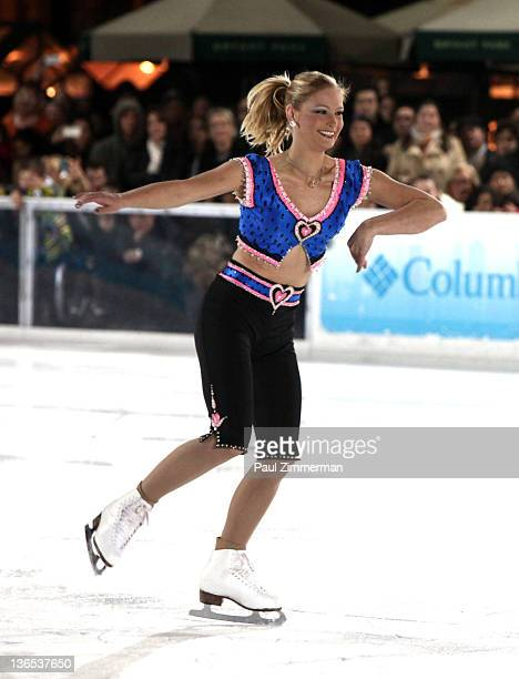 Former Olympian Nicole Bobek performs at 'The Skate Against Breast Cancer' event at the Citi Pond in Bryant Park on January 7 2012 in New York City