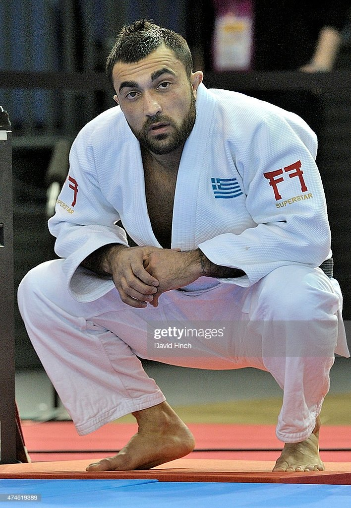 Former Olympic and World champion, Ilias Iliadis of Greece patiently waits to enter the mat for ...
