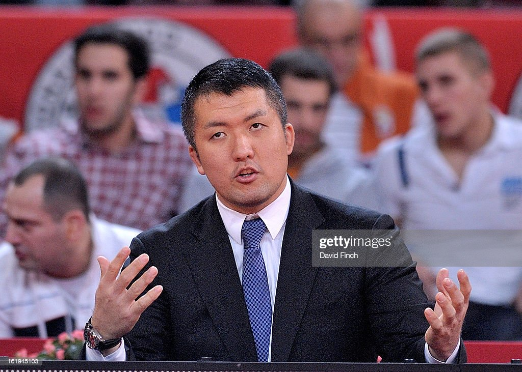 Former Olympic and World champion, <a gi-track='captionPersonalityLinkClicked' href=/galleries/search?phrase=Keiji+Suzuki&family=editorial&specificpeople=2259661 ng-click='$event.stopPropagation()'>Keiji Suzuki</a>, coaches from the side of the mat during the Paris Grand Slam on day 2, Sunday, February 10, 2013 at the Palais Omnisports de Paris, Bercy, Paris, France.