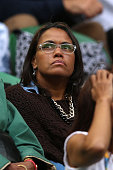 Former Olympic athlete Cathy Freeman watches the action at Rod Laver Arena during day nine of the 2015 Australian Open at Melbourne Park on January...