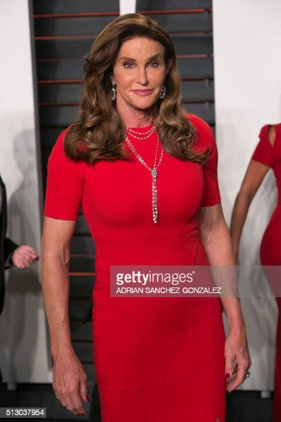 Former Olympic champion turned TV personality Caitlyn Jenner poses as she arrives to the 2016 Vanity Fair Oscar Party in Beverly Hills California on...