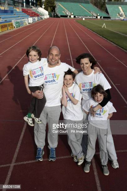 Former Olympic hurdler Sally Gunnell with husband Jon Bigg and their children Marley Finley and Luca at the Withdean Sports Complex in Brighton...
