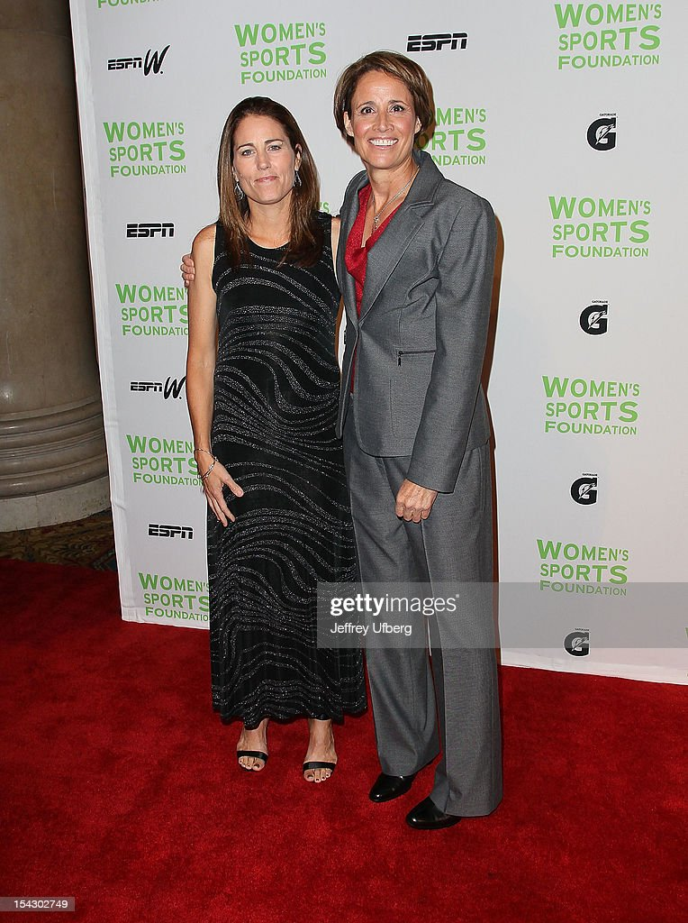 Former Olympic soccer player <a gi-track='captionPersonalityLinkClicked' href=/galleries/search?phrase=Julie+Foudy&family=editorial&specificpeople=162758 ng-click='$event.stopPropagation()'>Julie Foudy</a> and former professional tennis player Mary Carillo attend the 33rd Annual Salute To Women In Sports Gala at Cipriani Wall Street on October 17, 2012 in New York City.