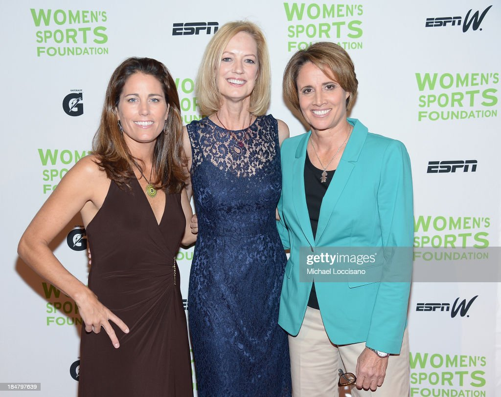 Former Olympic soccer player <a gi-track='captionPersonalityLinkClicked' href=/galleries/search?phrase=Julie+Foudy&family=editorial&specificpeople=162758 ng-click='$event.stopPropagation()'>Julie Foudy</a>, Women's Sports Foundation CEO Kathryn Olson and Former professional tennis player Mary Carillo attend the 34th annual Salute to Women In Sports Awards at Cipriani, Wall Street on October 16, 2013 in New York City.