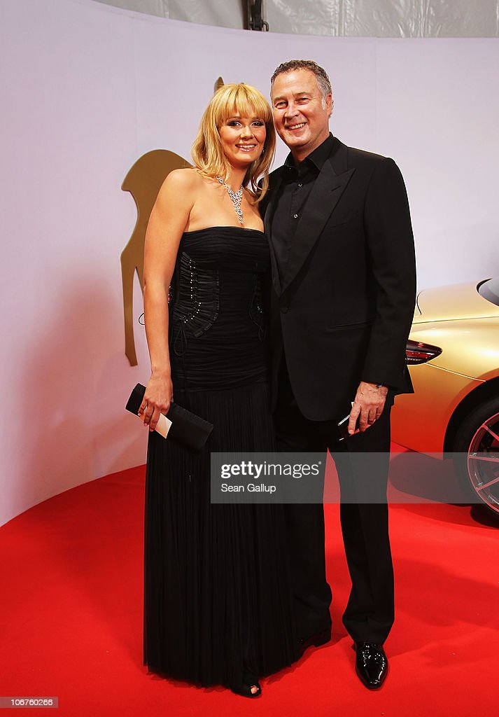 Former Olympic swimmer Franziska Van Almsick and her husband Jurgen Harder arrive for the Bambi 2010 Award at Filmpark Babelsberg on November 11 2010...
