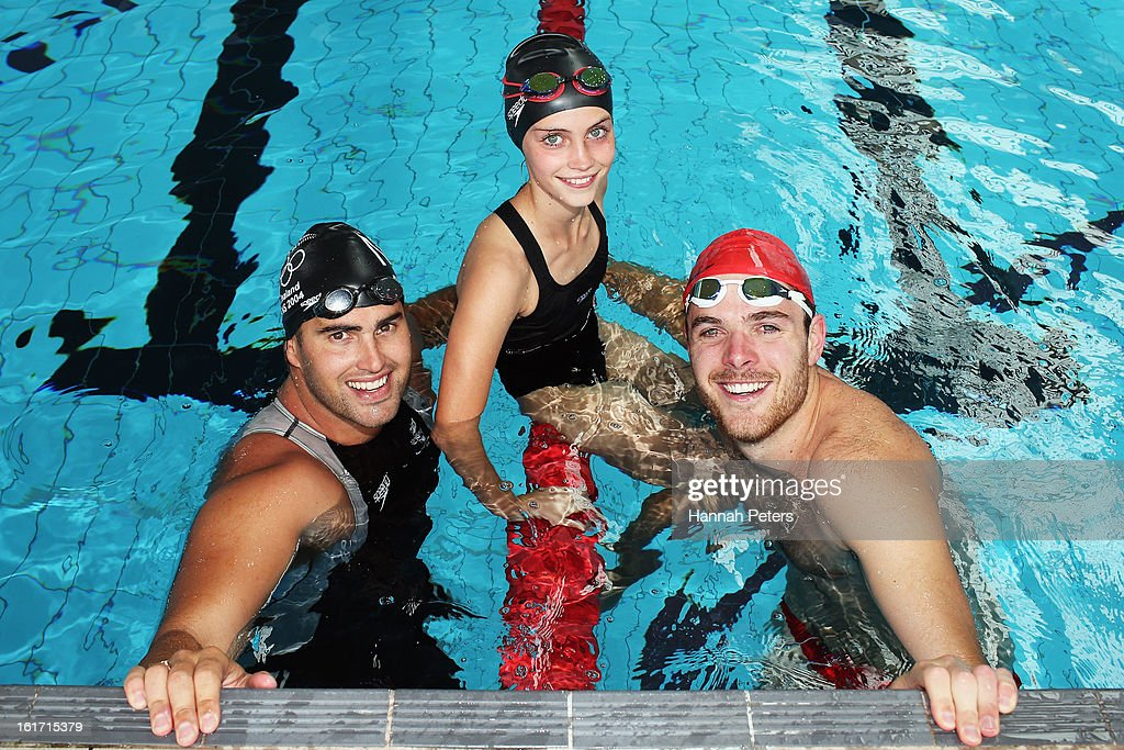 Former Olympic swimmer <a gi-track='captionPersonalityLinkClicked' href=/galleries/search?phrase=Moss+Burmester&family=editorial&specificpeople=695855 ng-click='$event.stopPropagation()'>Moss Burmester</a>, Eva Williams and comedian Guy Williams pose for a photo during the Cure Kids 2013 Red Nose Day Launch at Mt Albert on February 15, 2013 in Auckland, New Zealand.