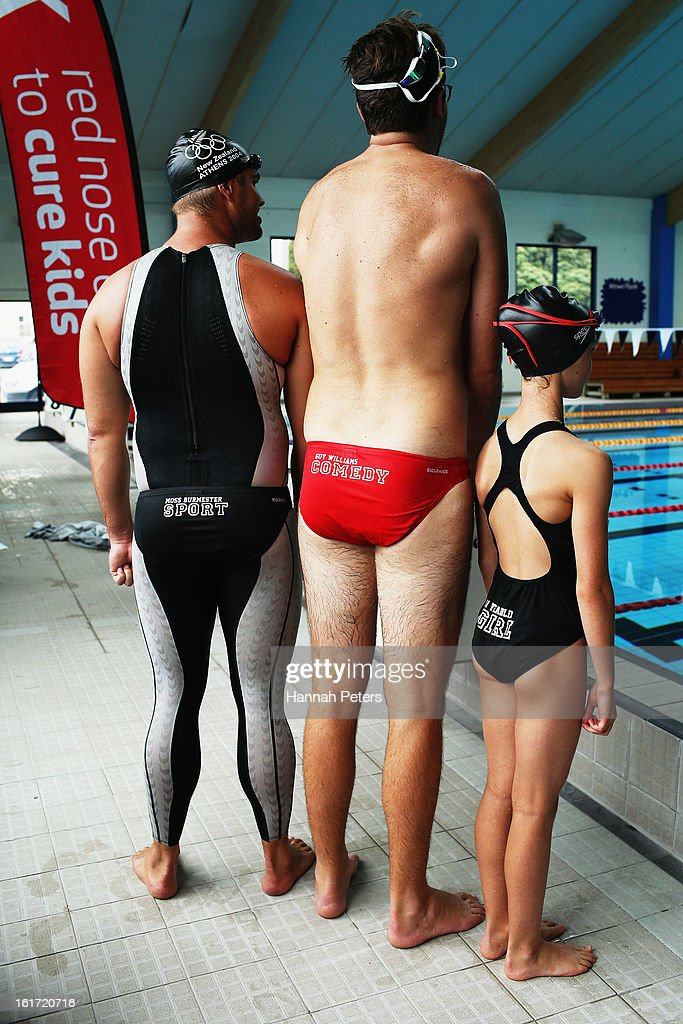 Former Olympic swimmer <a gi-track='captionPersonalityLinkClicked' href=/galleries/search?phrase=Moss+Burmester&family=editorial&specificpeople=695855 ng-click='$event.stopPropagation()'>Moss Burmester</a>, Eva Williams and comedian Guy Williams wait to race against each other during the Cure Kids 2013 Red Nose Day Launch at Mt Albert on February 15, 2013 in Auckland, New Zealand.