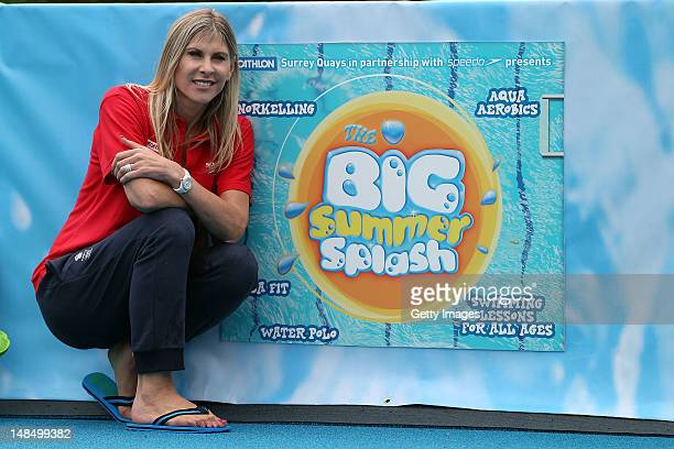 Former Olympic swimmer Sharron Davies poses for a portrait during the Big Summer Splash Event presented by Decathlon in partnership with Speedo on...