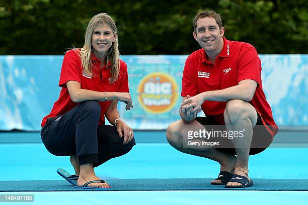 Former Olympic swimmers Sharron Davies and Steve Parry pose for a portrait during the Big Summer Splash Event presented by Decathlon in partnership...