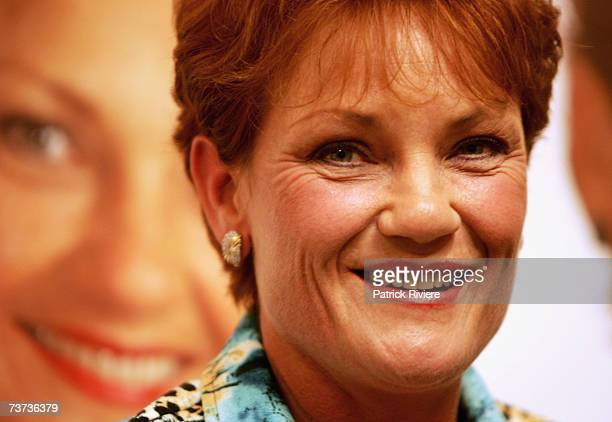 Former One Nation Party leader Pauline Hanson attends the Sydney launch of her autobiography 'Untamed Unashamed' at Dymocks on March 29 2007 in...