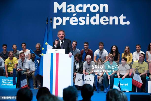 Former opponent and current support the mayor of Pau Francois Bayrou delivers a speech during a meeting of Emmanuel Macron Founder and Leader of the...