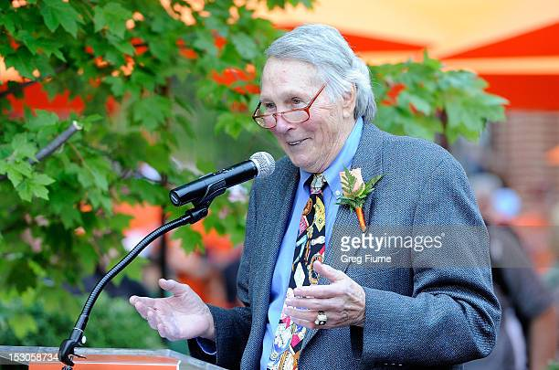 Former Oriole Brooks Robinson is honored before the game between the Baltimore Orioles and the Boston Red Sox at Oriole Park at Camden Yards on...