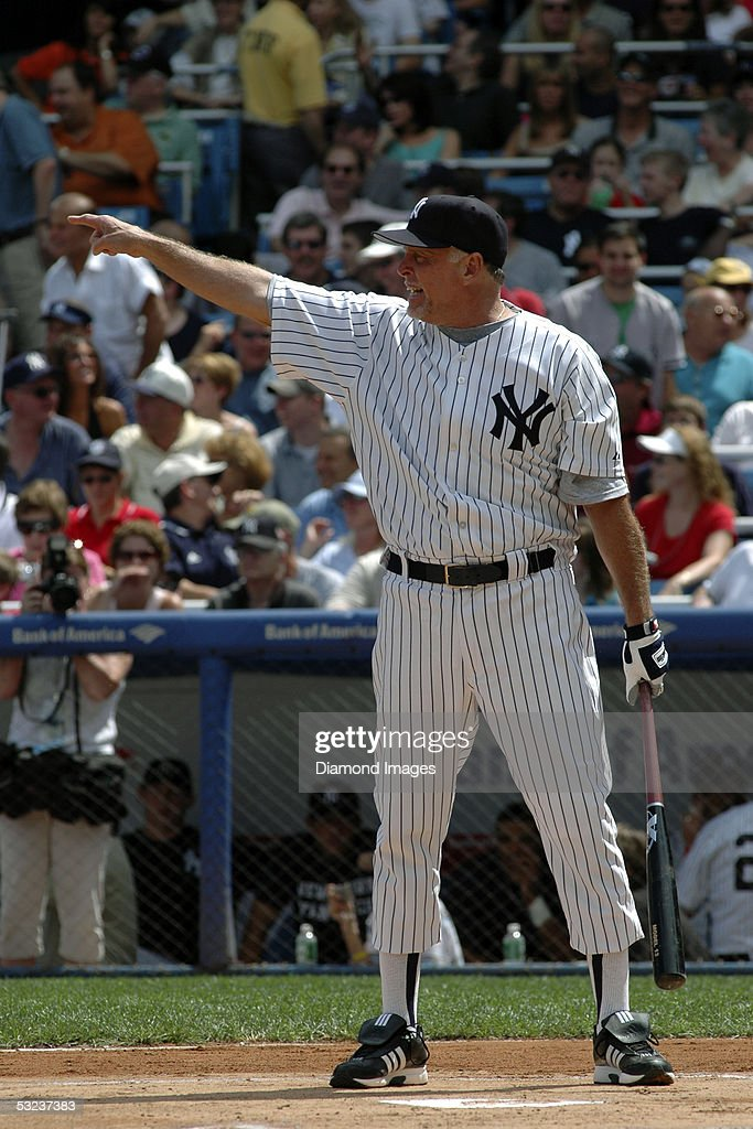 Former outfielder and designatedhitter Ron Blomberg of the New York Yankees points towards the outfield as he prepares to bat during the annual Old...