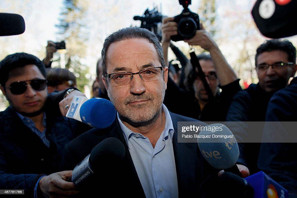 Former owner of Real Zaragoza Javier Agapito arrives at court at the City of Justice as he is investigated with another 41 people in a matchfixing...