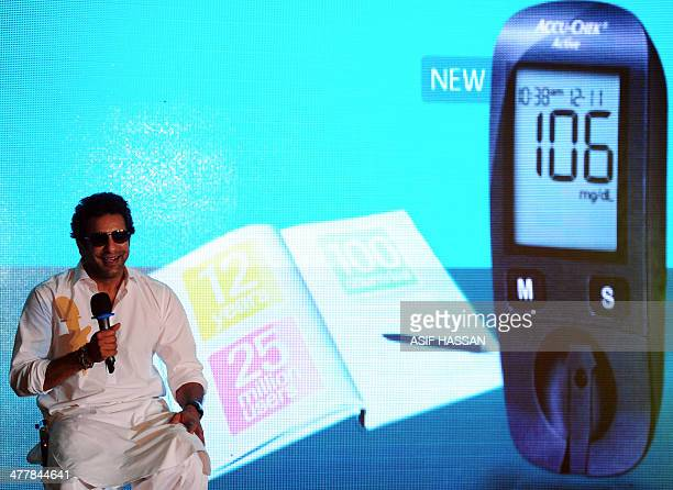 Former Pakistan cricket captain and legendary paceman Wasim Akram speaks during a diabetic awareness programme event in Karachi on March 11 2014...