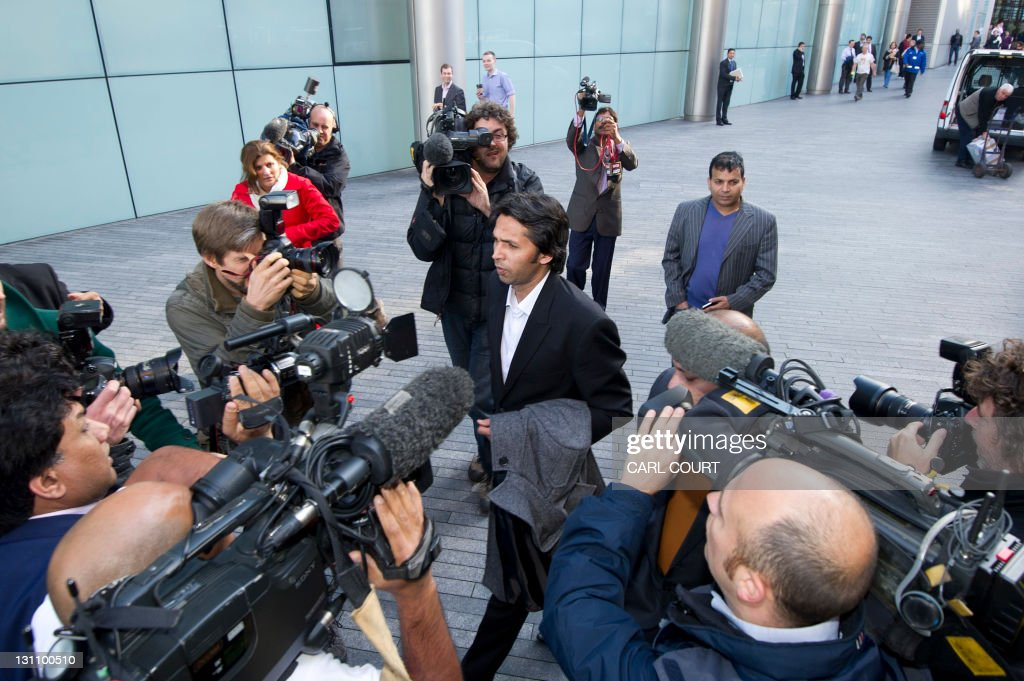 Former Pakistan cricketer Mohammad Asif leaves Southwark Crown Court in London on November 1 2011 after being found guilty along with a teammate of...