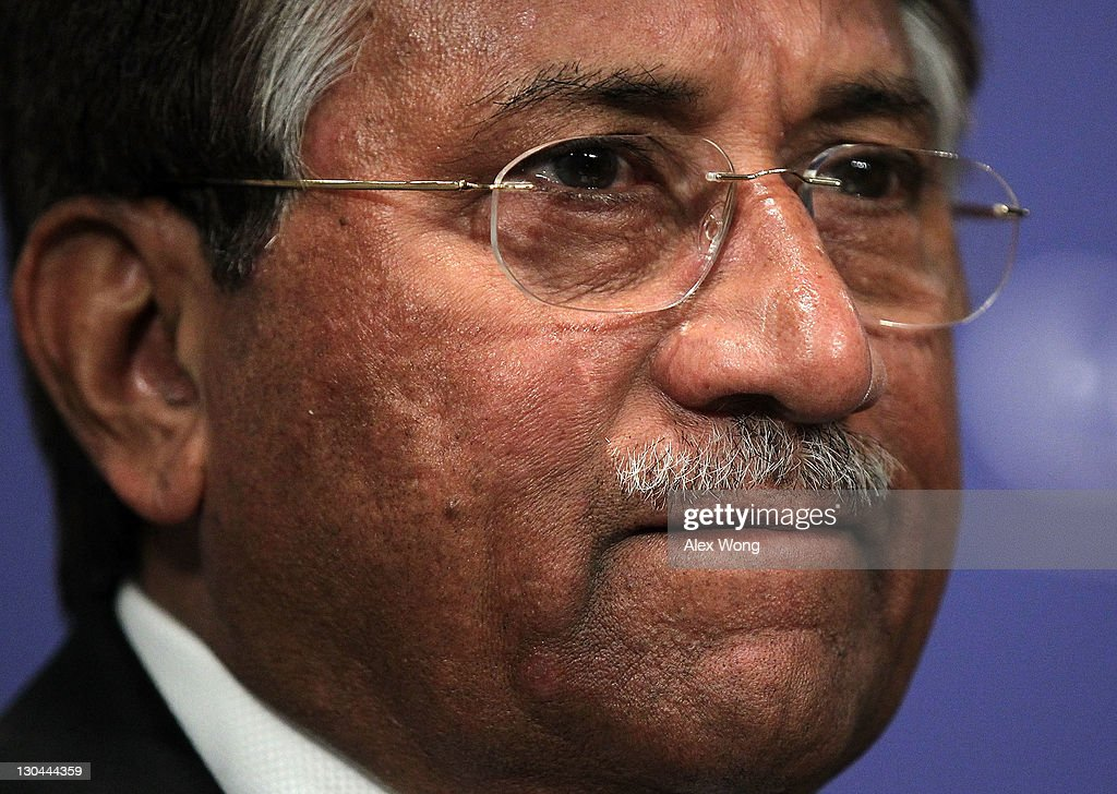 Former Pakistan President <a gi-track='captionPersonalityLinkClicked' href=/galleries/search?phrase=Pervez+Musharraf&family=editorial&specificpeople=121550 ng-click='$event.stopPropagation()'>Pervez Musharraf</a> prior to speaking at The Carnegie Endowment for International Peace October 26, 2011 in Washington, DC. Musharraf delivered an address on 'U.S.-Pakistan relations, recent tensions between the two countries, and a vision of the way forward.'