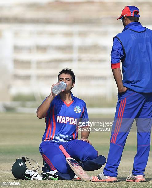 Former Pakistan Test captain Salman Butt drinks water during a domestic oneday match in Hyderabad on January 10 2016 Butt and Mohammad Asif returned...